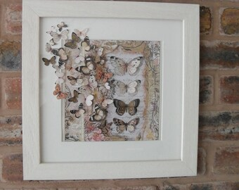 3D BUTTERFLY ARTWORK, Collage, Mixed Media Wall Hanging