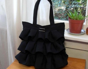 Ruffle Linen Purse-Black-