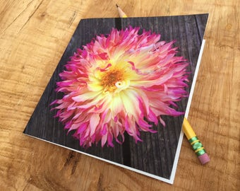 Dahlia Notecard- Pink and Yellow Bloom