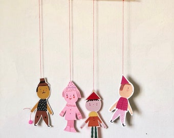4 paper dolls decor for walls, nursery decor, children's room decor