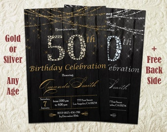 50th Birthday Invitation For Women, 50th Birthday Invite, Fifty And Fabulous Invitation, Black And Gold Birthday Invitation For Women