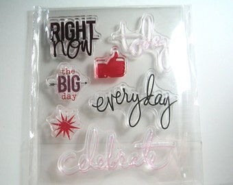 Small Clear Stamp Set celebrate, today, everyday, words, text 7 stamps