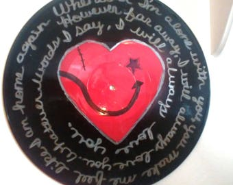 """The Cure """"Lovesong"""" Song Lyrics Record Album Art Made From An Upcycled LP"""