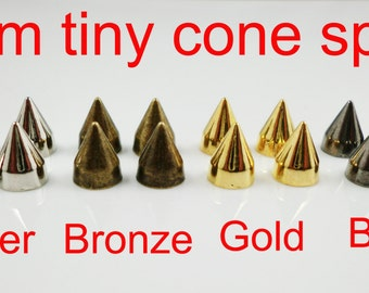 50pcs 9mm height metal alloy cone punk spikes studs great for jacket denim shoes rock diy supply
