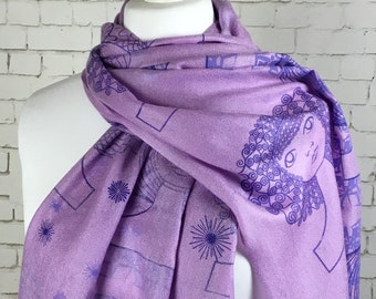 Pashmina boho scarf shawl scarf for girlfriend wife gift scarf purple pashmina scarf silk & pashmina blend handprinted Art Deco heads design