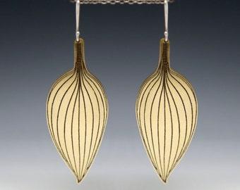 Botanical earrings, boho jewelry,  boho earrings,  leaf earrings, large earrings, etched brass, brass leaf earrings, large dangle earrings