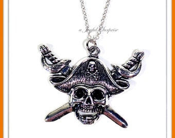 Pirate Necklace, Skull Sword Necklace, Silver Pirate Jewelry, Skull and Sword Necklace, Gift for Pirate Lover Gifts, Pirate Gift,  202