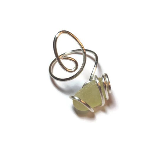Cage wrapped yellow authentic sea glass adjustable ring
