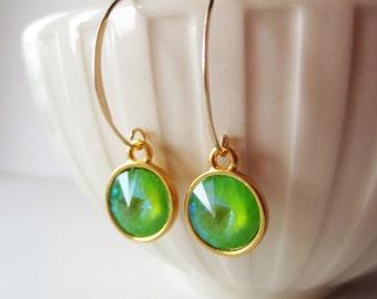 Lime green rivoli earrings.  Lime green crystal earrings. Long dangle gold earrings. Crystal earrings.  Light green earrings.