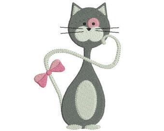 Embroidery design machine elegant cat instant download
