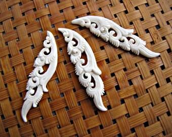 Patra Punggel Carved Bone Cabochon, 1pc