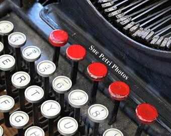 Vintage Typewriter Photographs, Typewriter Prints, Antique Typewriter Art, Still Life Photography, Black and Red, Craftroom Decor, Wall Art