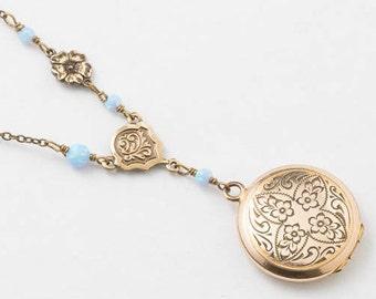 Collier médaillon, médaillon d'or rempli, fleur et feuille de gravure avec opale bleu et breloque fleur sur chaîne de perles, cadeau de mariage, bijoux Vintage