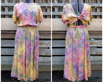 Vintage 1980's 90's Purple Pink and Yellow Tie Open Back Summer Sundress