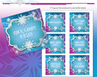 """Frozen Princess Winter Snowflakes Printable 3"""" Birthday Party Candy Buffet Labels - DIY - Do-It-Yourself Printables - Ice Princess"""