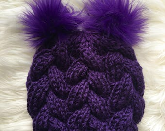 READY TO SHIP: Braided Cable Beanie // Purple // Toddler Hat
