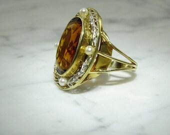 Madeira Citrine 14K Yellow Gold Ring Size  7.5