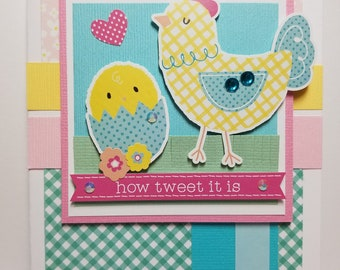 Handmade All Occasion Card, Chickens, Spring