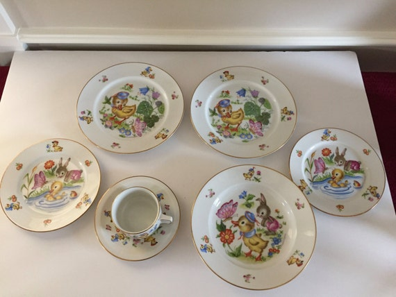 Set of Child\u0027s Dinnerware Maria Pia Vintage Dishes Thomas of Germany Plates Bowl Cup Saucer Kids Mealtime & Set of Child\u0027s Dinnerware Maria Pia Vintage Dishes