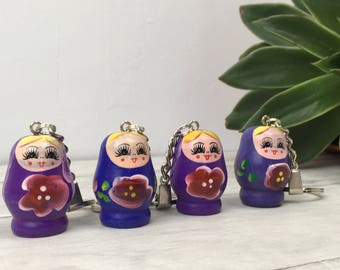 Purple nesting doll, new mother, mothers day, mother's day, wooden keyring, russian doll gift, doll keyring, doll keyring, matryoshka doll