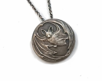 Antique Bat Amulet in Sterling Silver victorian vampire necklace