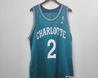 Vintage CHARLOTTE Jersey Johnson No. 2 Champion Jersey Nice Colour