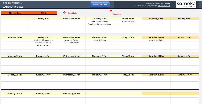 Automatische Terminplaner Kalender-Maker-Excel-Vorlage