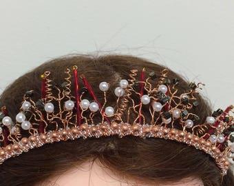 Alternative Tiara, Steampunk wedding, Wedding Headdress, Rose gold tiara, Dress up hair, Cosplay crown, pearl tiara, steampunk ball,