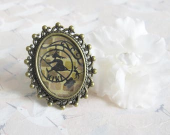 Ring * Witch and her black cat *, bronze jewellery