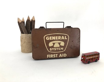 First Aid Kit - Vintage General System Brown Metal First Aid Box - Medical Kit - First Aid Box - Telephone - Medical Supply Company