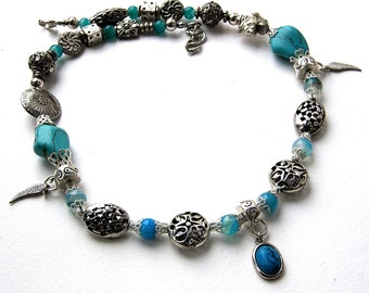 Howlite Turquoise and Agate Necklace 47cm