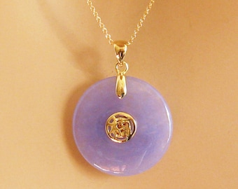 Jade pendant etsy purple jade necklace 14 carat gold vermeil good luck jade pendant 14 carat mozeypictures Gallery