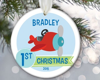 Baby Boy Keepsake Personalized Baby's 1st Christmas Ornament or First Birthday Gift Custom Baby Shower Gift Newborn Christmas Gift OR274