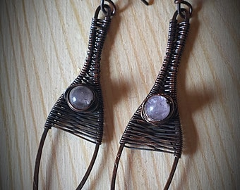 Wire Wrapped Moonstone Wishbone Earrings