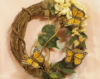 """SALE ITEM  Elegant in it's simplicity, this 14"""" wreath is part of """"The Butterfly Collection""""- Four Monarch butterflies evokes """"Enchantement"""""""