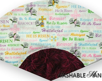 Washable Hand Fan Traditional Crosses & White Lilies with Easter Words