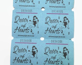 Blue Raffle Tickets Two Part Double, Queen of Hearts Pin Up Girl - Perfect for Vintage, Bachelorette Party, Card Games, Pinup Bridal Showers