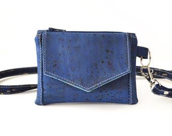 Denim Blue Cork Leather Kristine ID Wallet
