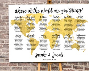 Where in the World Are You Sitting   Where in the World Am I Sitting   Travel Theme Seating Plan for Weddings and Events