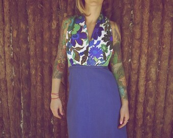 Vintage Open Back Halter Dress~Sexy Dress~Party Dress~Day Dress~Hi Lo Dress~Blue Dress~Summer Dress~Floral Dress~Beach Dress~Retro Dress~Eco