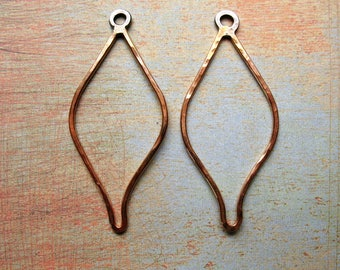 Gold Filled Hammered Leaf Hoop Findings - 1 pair - 1.75 inches in length