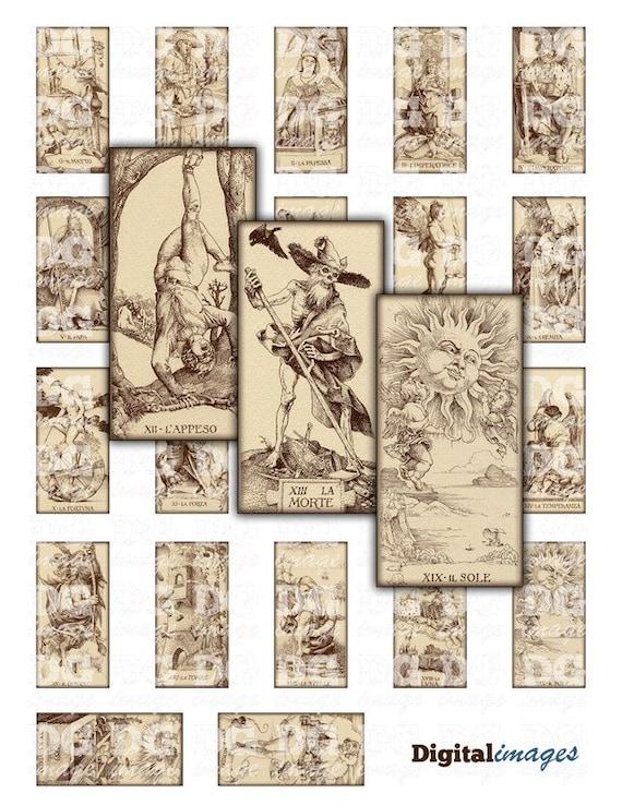 Antique Tarot Card By Durer Rectangles 1x2 Inch 25x50mm