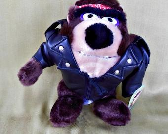 Vintage 1993 Looney Toons Biker Tasmanian Devil Plush
