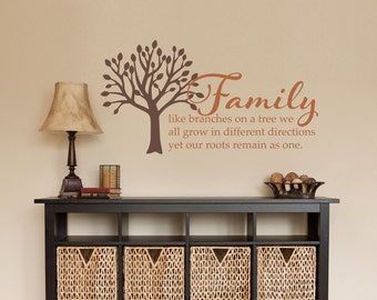 Tree Wall Decal - Family like branches on a tree Quote Wall Decal - Medium 2 color design