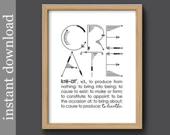 Definition of Create, Printable wall art, Create quote print, artist gift, crafter gift, writer gift, office art, sewing room, to breathe
