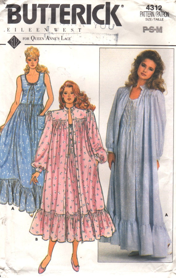 Butterick 4312 1980s Misses EILEEN WEST Nightgown Robe Pattern ...