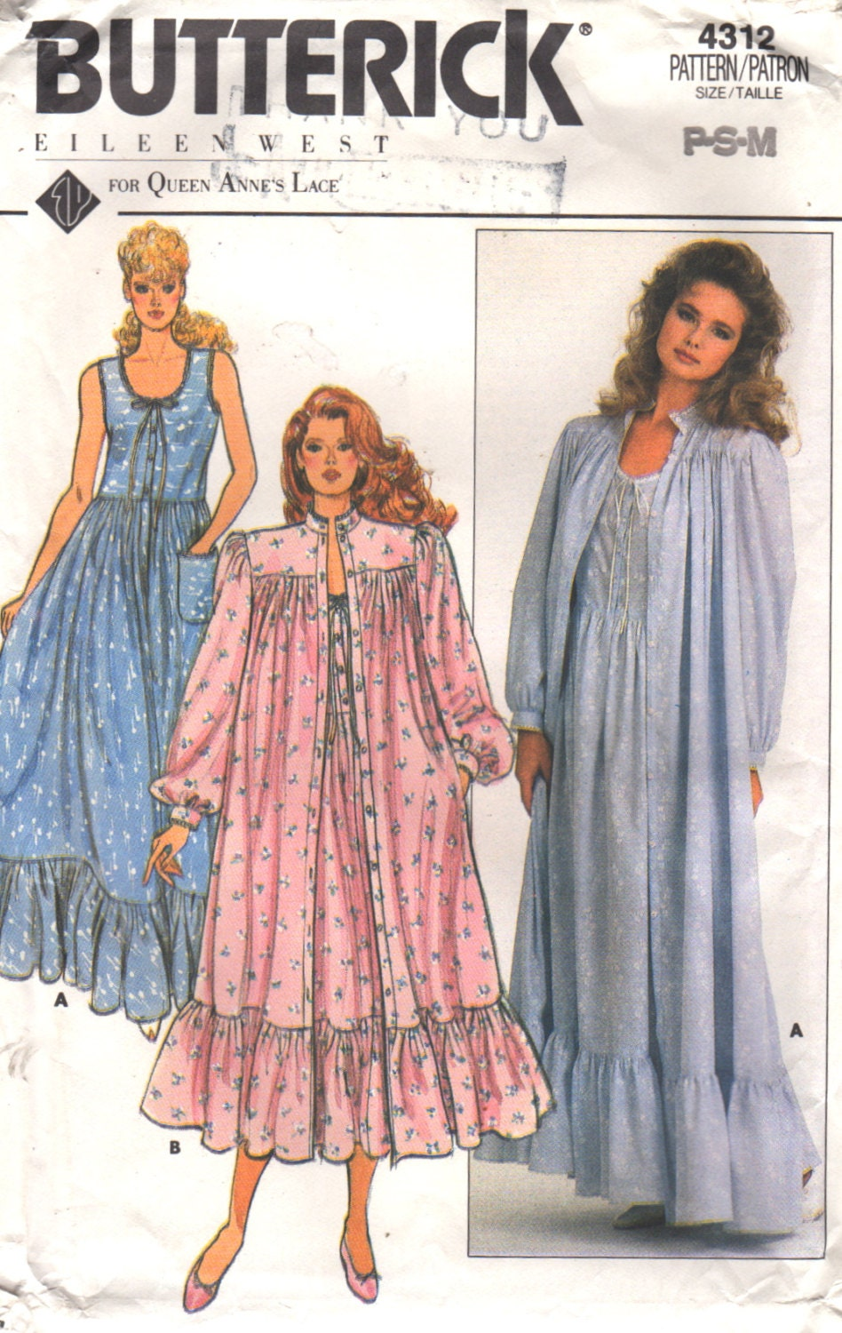 Butterick 4312 1980s misses eileen west nightgown robe pattern zoom jeuxipadfo Gallery
