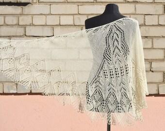 Lace shawl, wedding shawl, silky shawl, white handknit shawl
