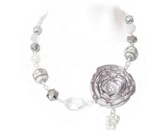 Gray Fabric Flower Necklace, Flower Jewelry, Wedding Jewelry, Unique Flower Necklace, Statement Necklace, Art Jewelry