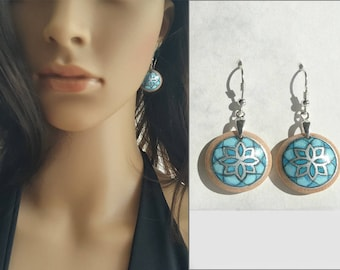 Awesome Hand Painted Earrings, Sterling Silver Dangle Earrings, Turquoise Blue Earrings, 925 Silver Wood Jewelry, Geometric Earrings